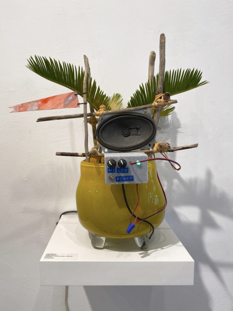 A sago palm plant in a rounded  yellow glass planter, connected to wooden frame, an electronic device, and speaker