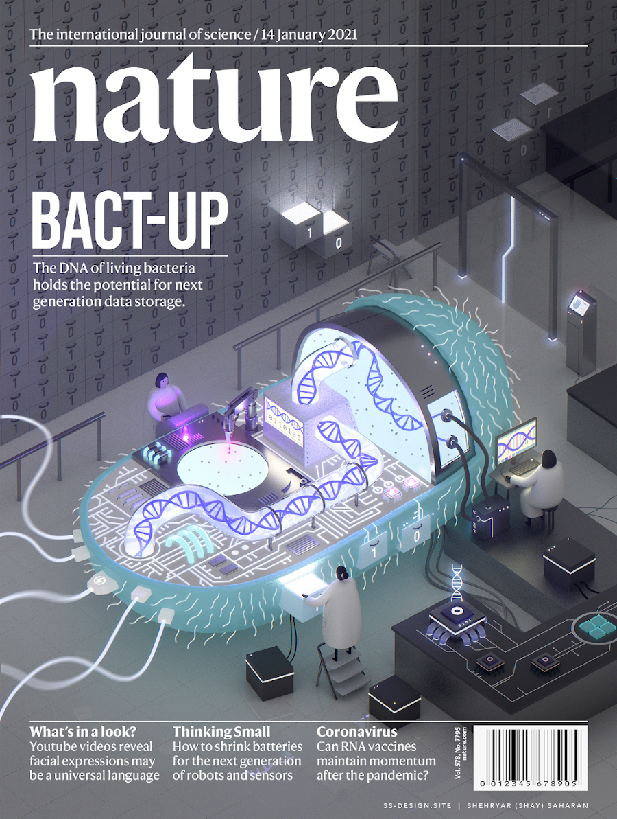 A mock Nature magazine cover with an illustration showing a bacterium-computer chip hybrid, meant to communicate bacteria's potential for data storage.