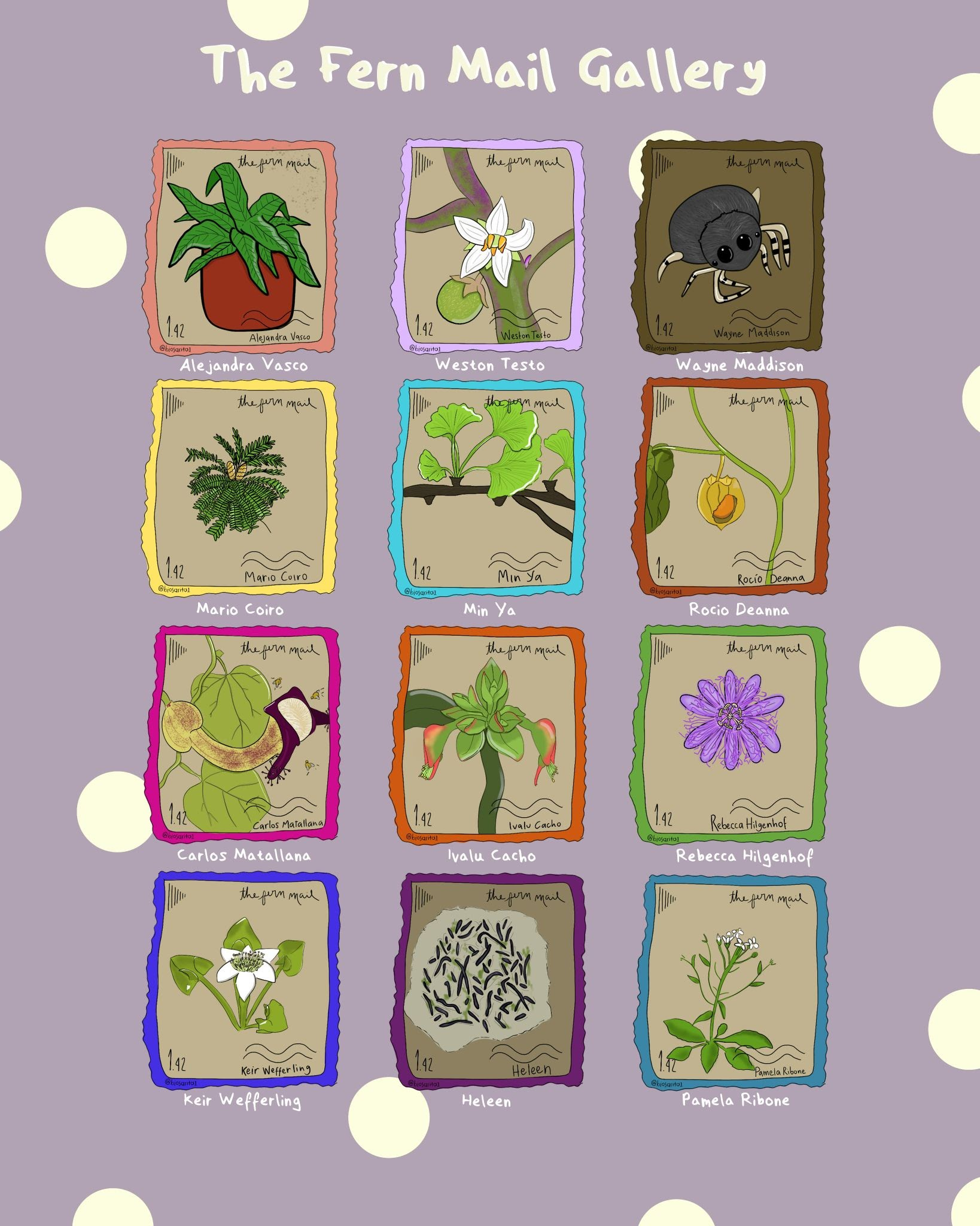 alt text: The Fern Mail Gallery by Sarita Muñoz-Gómez. On a lilac-coloured and sparsely polka-dotted background, twelve illustrated stamps are laid out in a 3 x 4 grid. From top left to bottom right: Fern in a peach frame for Alejandra Vasco, Solanum quitoense in a light purple frame for Weston Testo, Cylistela in a brown frame for Wayne Maddison, Cycad in a light yellow frame for Mario Coiro, Gingko in a light blue frame for Min Ya, Physalis in a burnt orange frame for Rocio Deanna, Aristolochia in a hot pink frame for Carlos Matallana, Euphorbia tithymaloides in an orange frame for Ivalu Cacho, Passiflora in a green frame for Rebecca Hilgenhof, a 6-petalled white flower surrounded by arrow-shaped leaves in a blue-purple frame for Keir Wefferling, a loosely circular light green mass containing worm-like black and green shapes in a purple frame for Heleen, and Arabidopsis in a blue frame for Pamela Ribone.